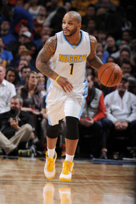 Jameer Nelson (2016) on court during a Denver Nuggets game wearing his  #1 jersey  Copyright 2016 NBAE (Photo by Noah Graham/NBAE via Getty Images)