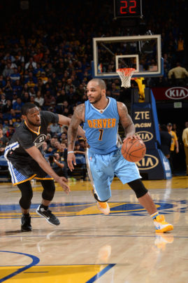 OAKLAND, CA - JANUARY 2: Jameer Nelson #1 of the Denver Nuggets handles the ball during the game against the Golden State Warriors on January 2, 2016 at ORACLE Arena in Oakland, California.   Copyright 2016 NBAE (Photo by Noah Graham/NBAE via Getty Images)