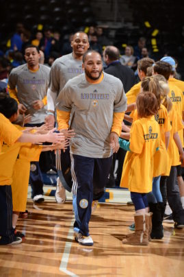 DENVER, CO - MARCH 1:  Jameer Nelson #28 of the Denver Nuggets gets introduced before the game against the New Orleans Pelicans on March 1, 2015 at the Pepsi Center in Denver, Colorado.   Copyright 2015 NBAE (Photo by Garrett Ellwood/NBAE via Getty Images)
