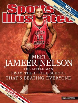 February 16, 2004 Sports Illustrated Cover: College Basketball: Portrait of St. Joseph's point guard Jameer Nelson (14) during photo shoot on St. Joseph's University campus.  Philadelphia, PA 2/6/2004  CREDIT: Al Tielemans (Photo by Al Tielemans /Sports Illustrated/Getty Images)